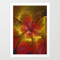 Vibrant Red and Gold Art Print
