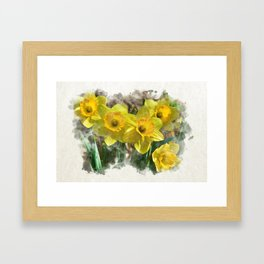 Watercolor Daffodils Framed Art Print