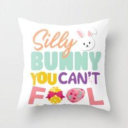 Egg Hunting Easter Bunny Rabbit  Throw Pillow