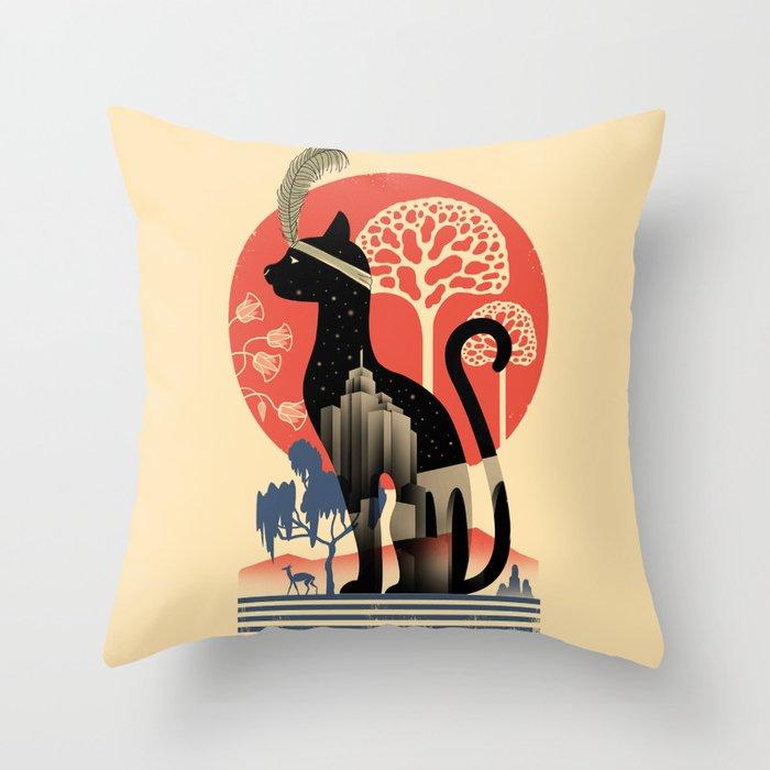Cat Deco Throw Pillow