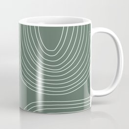 Hand drawn Geometric Lines in Forest Green 3 Coffee Mug