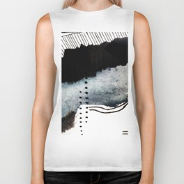 Closer - a black, blue, and white abstract piece Biker Tank