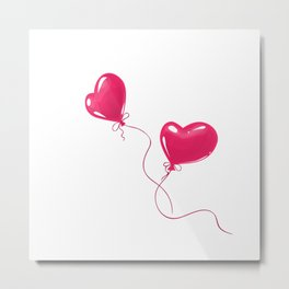 Heart shaped red balloons Metal Print