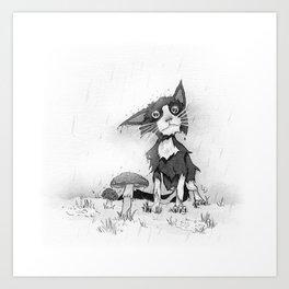 Wet cat Art Print