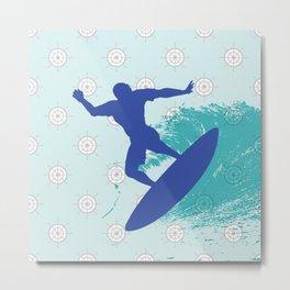 Surf, sea, surfing, marine, sea, summer, blue , nautical Metal Print