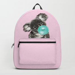 Playful Koala Bear with Bubble Gum in Pink Backpack