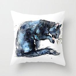 Cat series 2012: Midnight Blue  Throw Pillow