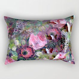 Camouflage Roses and Butterflies Rectangular Pillow