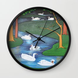 A Flock of Seven Swans-A-Swimming Wall Clock
