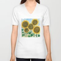 sunflowers V-neck T-shirts featuring Sunflowers by Holly Fisher@SpenceCreative