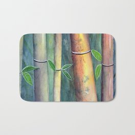Magical Bamboo Forest Watercolor mixed media Bath Mat