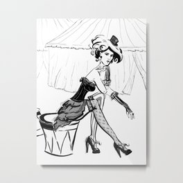 Fashion Circus Girl Portrait Metal Print