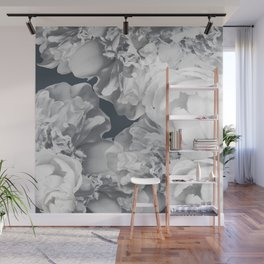 Elegant Peony Bouquet Gray Monochrome #decor #society6 #buyart Wall Mural