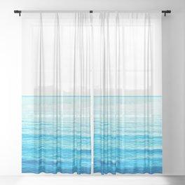 Blue Ocean Illustration Sheer Curtain