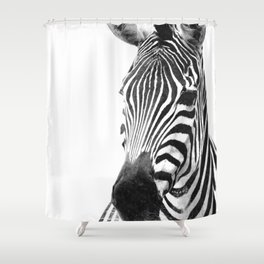Black and white zebra illustration Shower Curtain