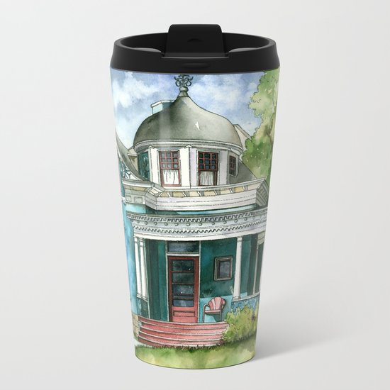 The House with Red Trim Metal Travel Mug