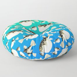Puffer Pattern Turquoise Teal Blue Floor Pillow