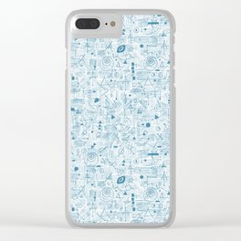 Blue and White Space Inspired Futuristic Pattern Clear iPhone Case