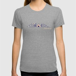 """Let's Camp"" camping in the mountains & dessert (sunrise) T-shirt"