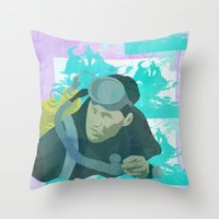 scuba Throw Pillows featuring Scuba Steve by Even In Death