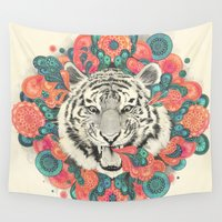 mandala Wall Tapestries featuring bengal mandala by Laura Graves
