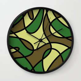Camo Curves - Abstract, camouflage coloured pattern Wall Clock