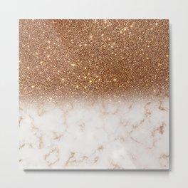 Gold Glitter Marble Gradient Metal Print
