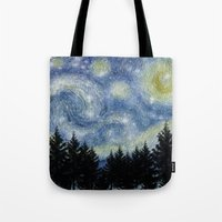 starry night Tote Bags featuring Starry Night by Astrablink7