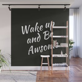 Bedroom | Teen Room | Black Pillow | Wakeup | Quotes Wall Mural