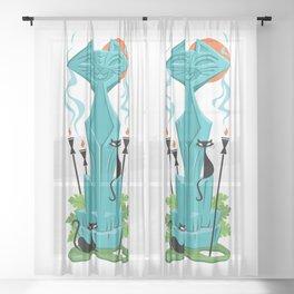 Mid Century Modern Tiki cat art by Art of Scooter Sheer Curtain