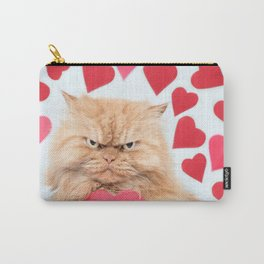 Cat with Red Heart Shape Carry-All Pouch