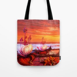 White flowers red magic Tote Bag