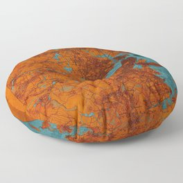 Boston 1893 old map, blue and orange artwork, cartography Floor Pillow