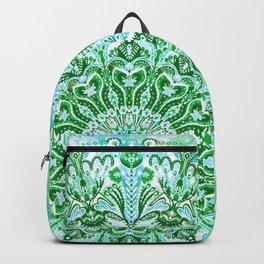 Ocean Aqua Blue Watercolor Mandala , Relaxation & Meditation Turquoise Flower Circle Pattern Backpack