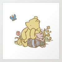 pooh Art Prints featuring Classic Pooh by kltj11