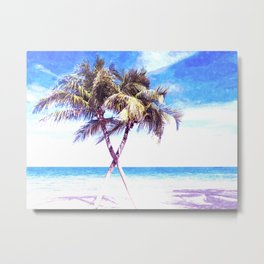Palm Tree Beach Metal Print