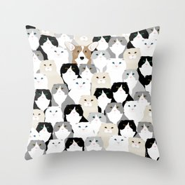 Cats and Dog Throw Pillow