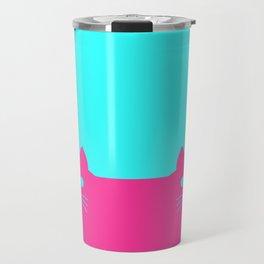 Meow Cat Pink Blue Travel Mug