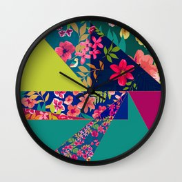 Floral Tropical Angles Wall Clock