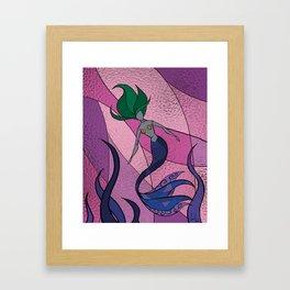Mermaid Stained Glass (Royal) Framed Art Print