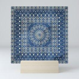 Old Bookshop Magic Mandala in Blue Mini Art Print
