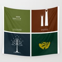 lord of the rings Wall Tapestries featuring Lord of the Rings - Complete Minimalist Collection by Jamesy