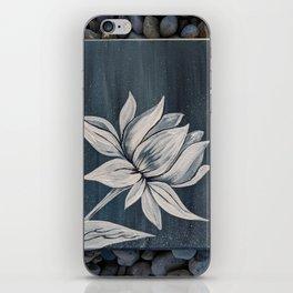 Black and White Lotus Painting on Rocks iPhone Skin