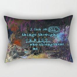 Phillipians 4:13 Bible Verse Scripture Abstract Art by Michel Keck Rectangular Pillow