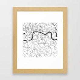 London White on Gray Street Map Framed Art Print