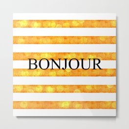 Bonjour Orange Stripe Bokeh Metal Print