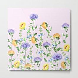 Aster Flora #pattern #society6 #flowers Metal Print