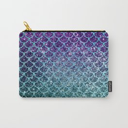 Purple Blue Turquoise Glitter Ombre Mermaid Scales Carry-All Pouch