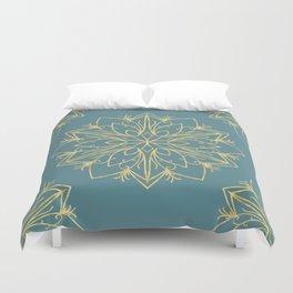 Golden Snowflake Teal Duvet Cover