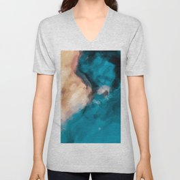 vintage splash painting texture abstract in blue and brown Unisex V-Neck